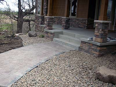 Concrete steps and stoop with paver sidewalk in Burnsville MN