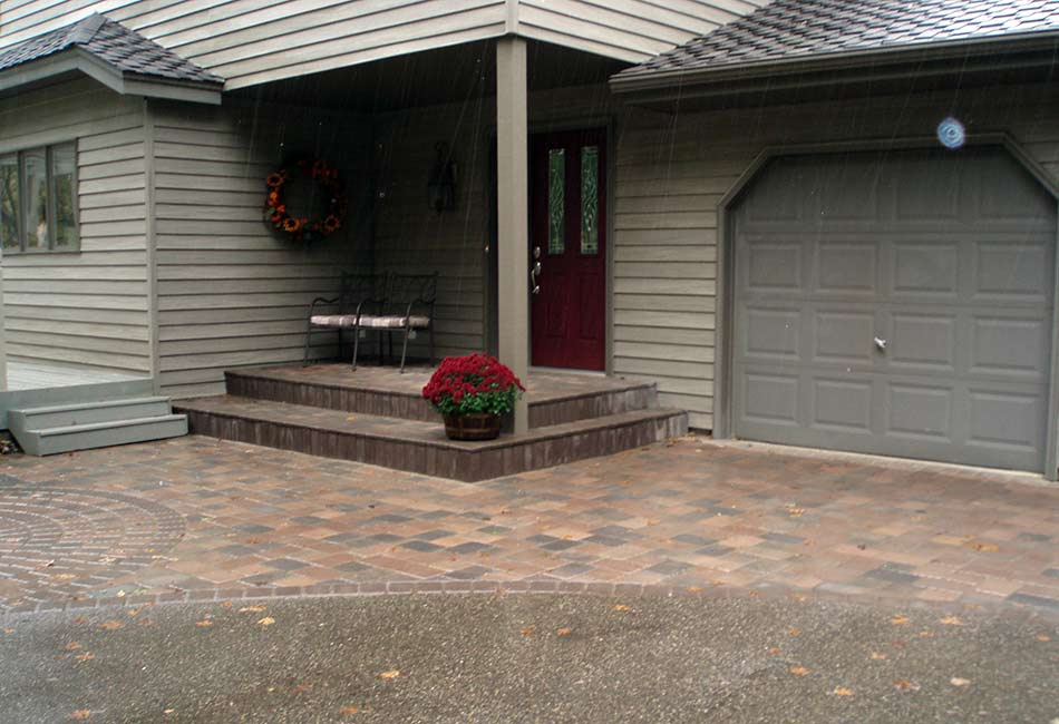 paver driveway apron sidewalk and stoop