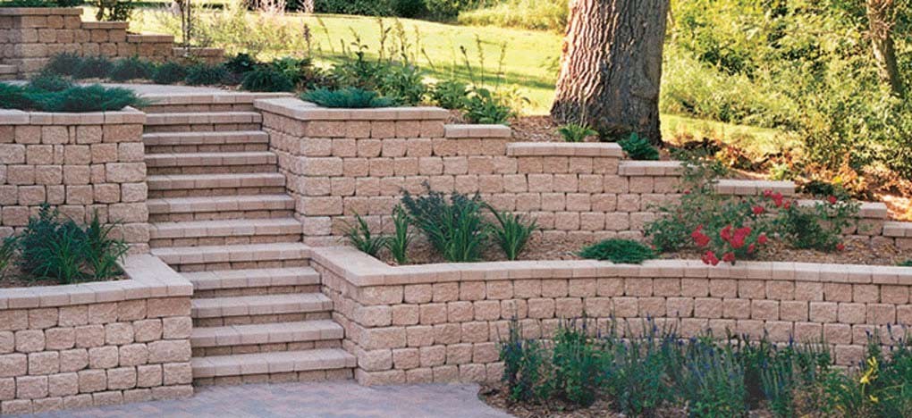 Retaining walls with steps in Burnsville MN
